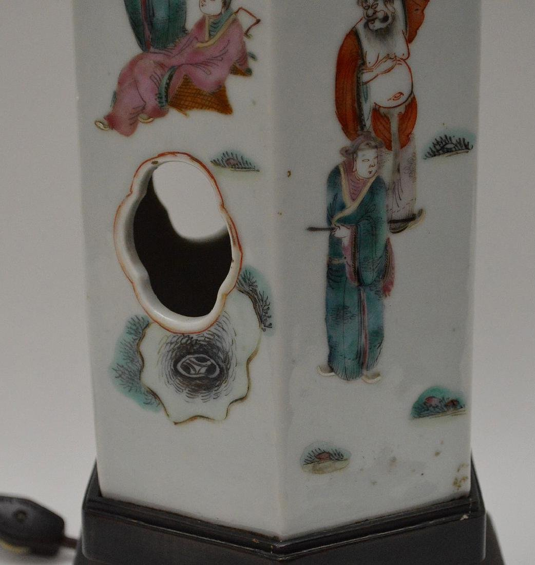 """6 sided Chinese porcelain panel lamp, 17""""h - 3"""