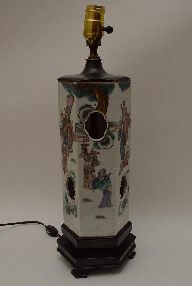 """6 sided Chinese porcelain panel lamp, 17""""h - 4"""