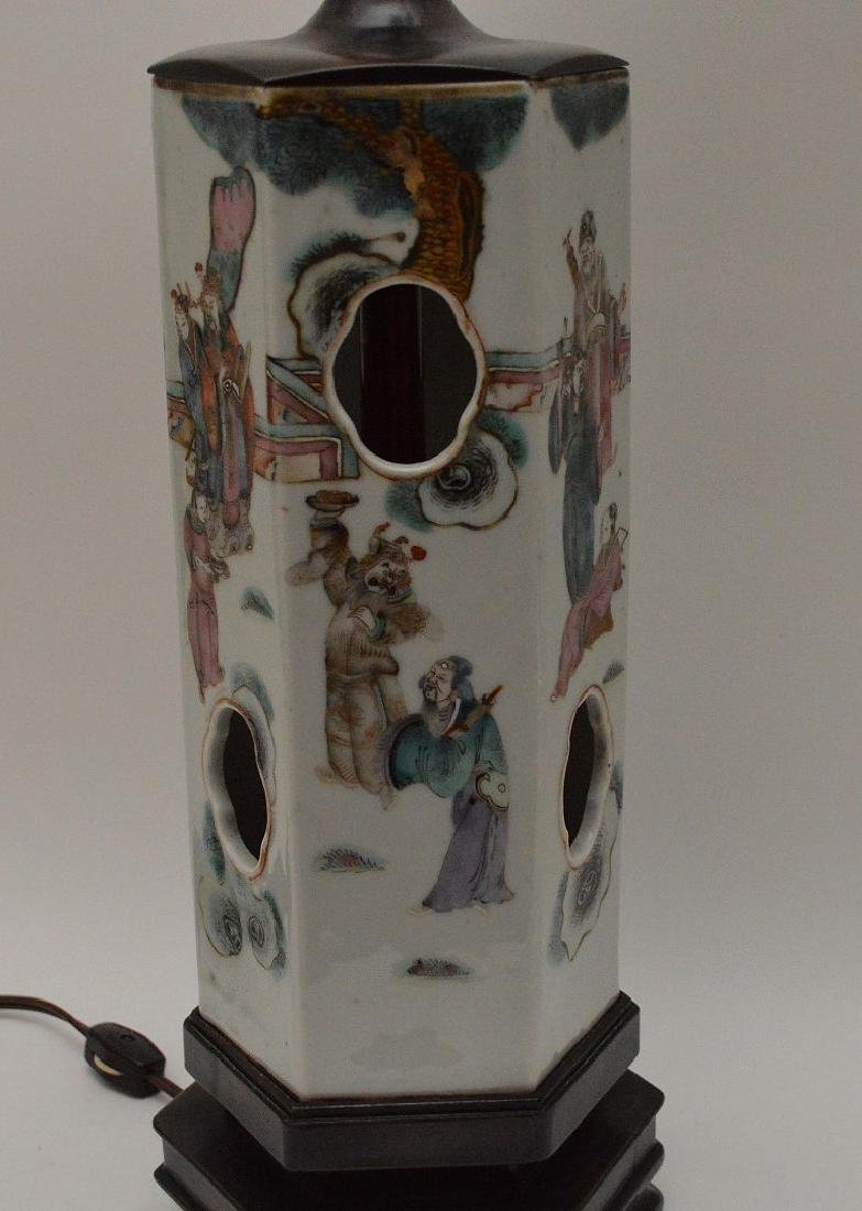 """6 sided Chinese porcelain panel lamp, 17""""h - 5"""