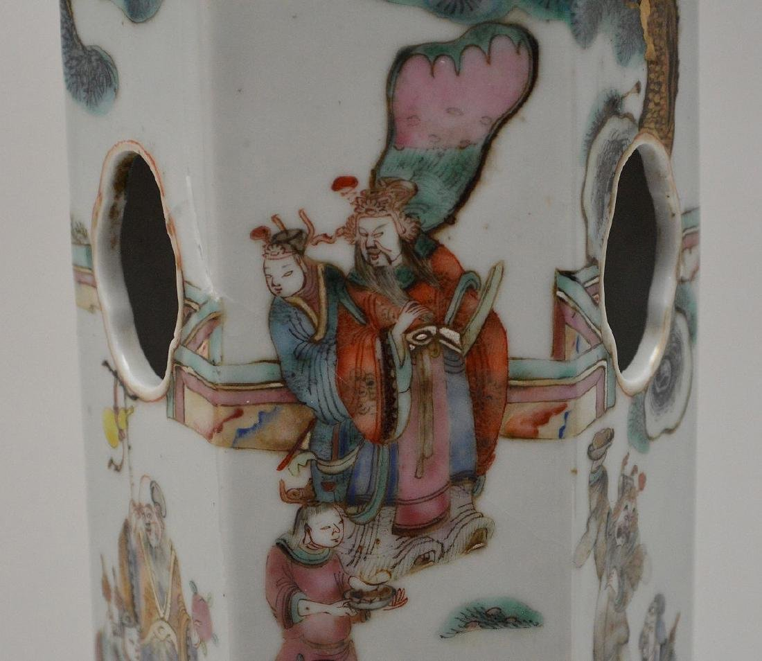 """6 sided Chinese porcelain panel lamp, 17""""h - 6"""