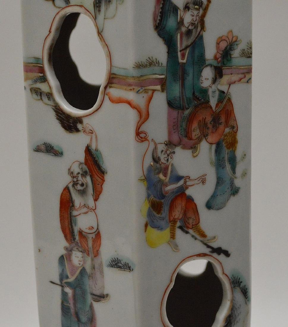 """6 sided Chinese porcelain panel lamp, 17""""h - 7"""