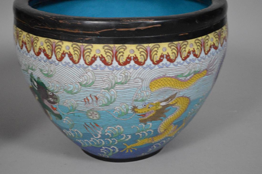 Pair Chinese cloisonné jardinières with 5 toe dragons - 2