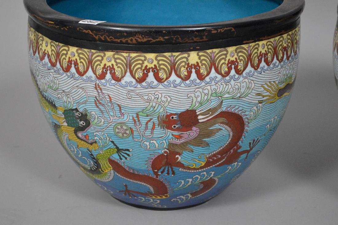 Pair Chinese cloisonné jardinières with 5 toe dragons - 3