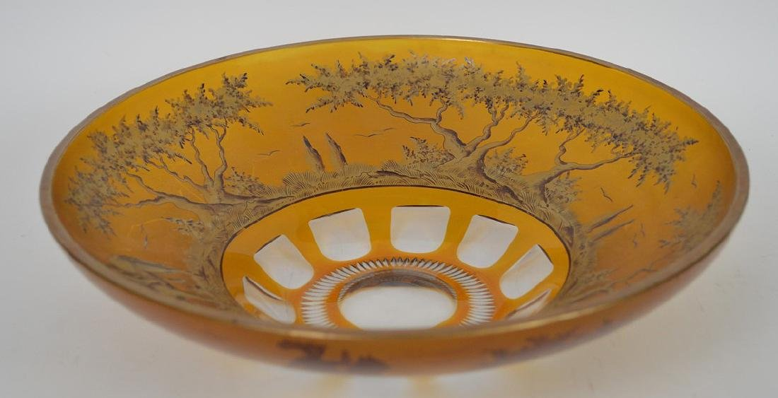 Centerpiece crystal bowl with wide amber color border - 5