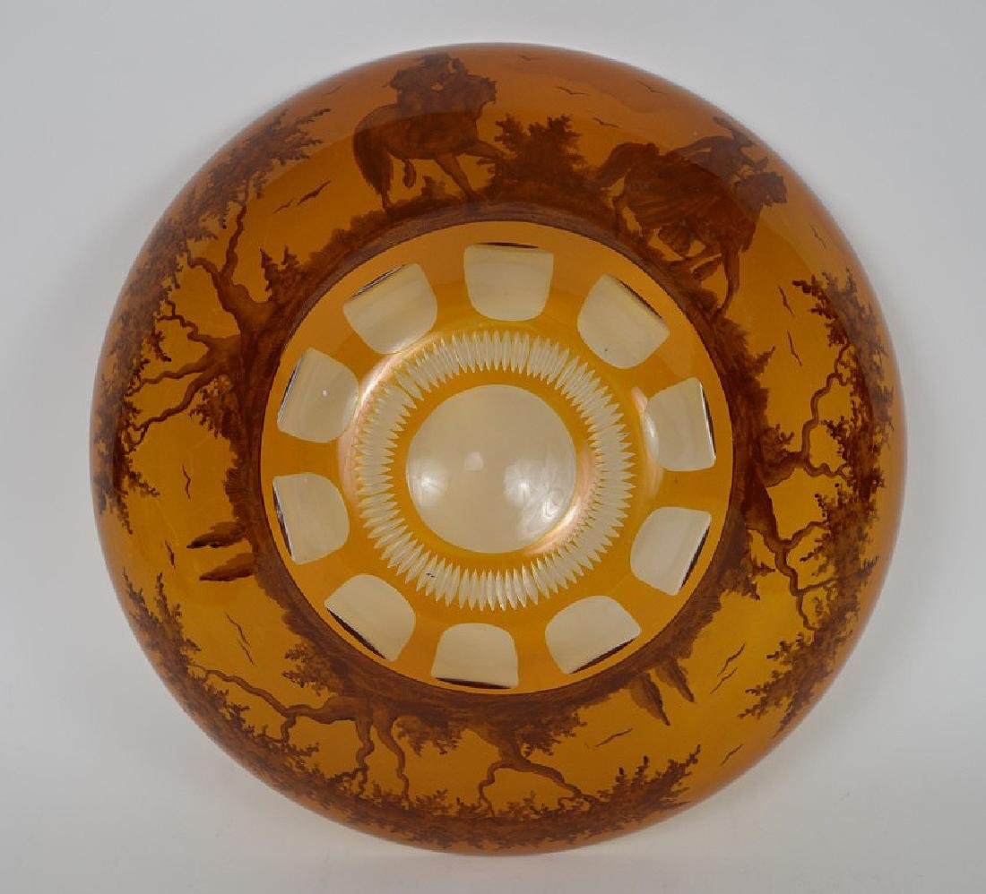Centerpiece crystal bowl with wide amber color border - 6