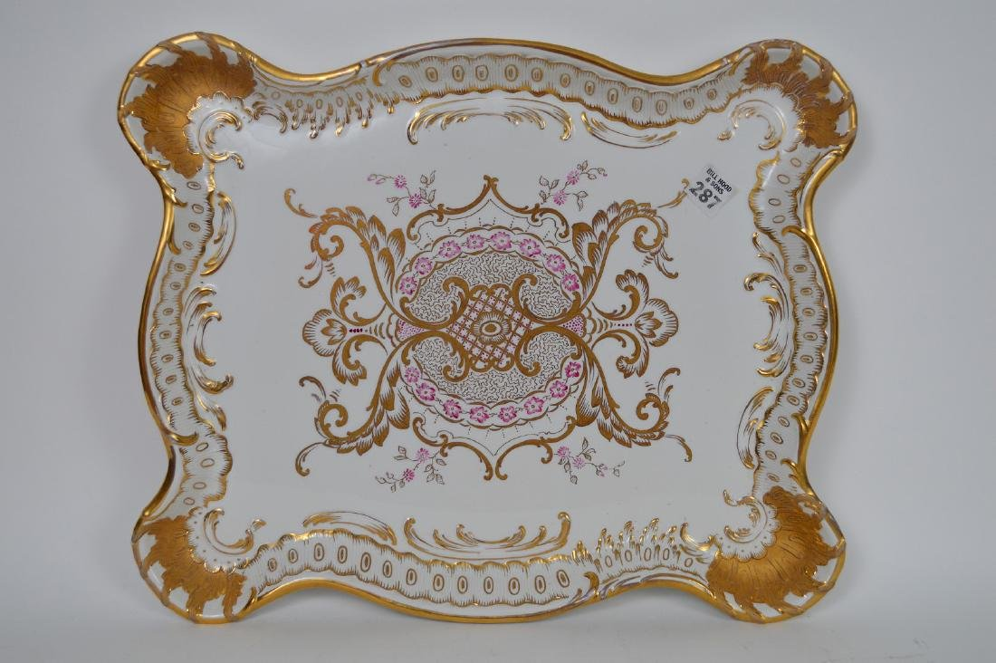 """Porcelain shaped tray with pink and gold accents, 17""""L"""