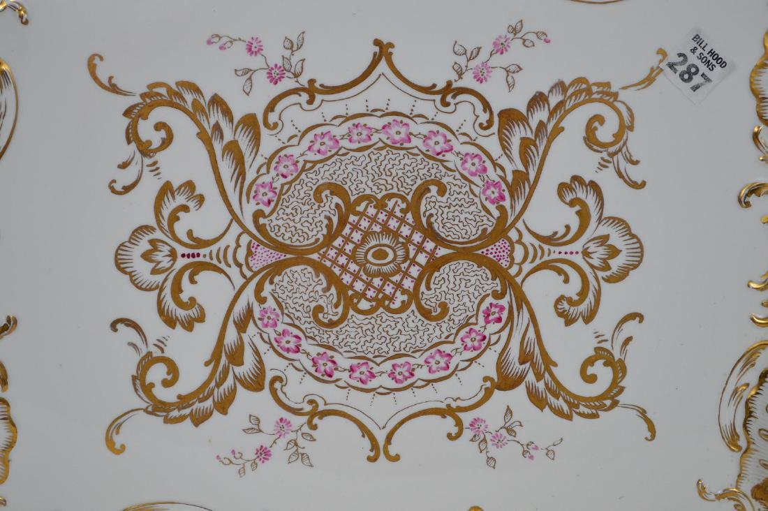 """Porcelain shaped tray with pink and gold accents, 17""""L - 2"""