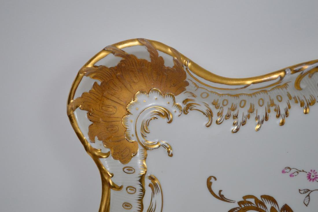"""Porcelain shaped tray with pink and gold accents, 17""""L - 3"""