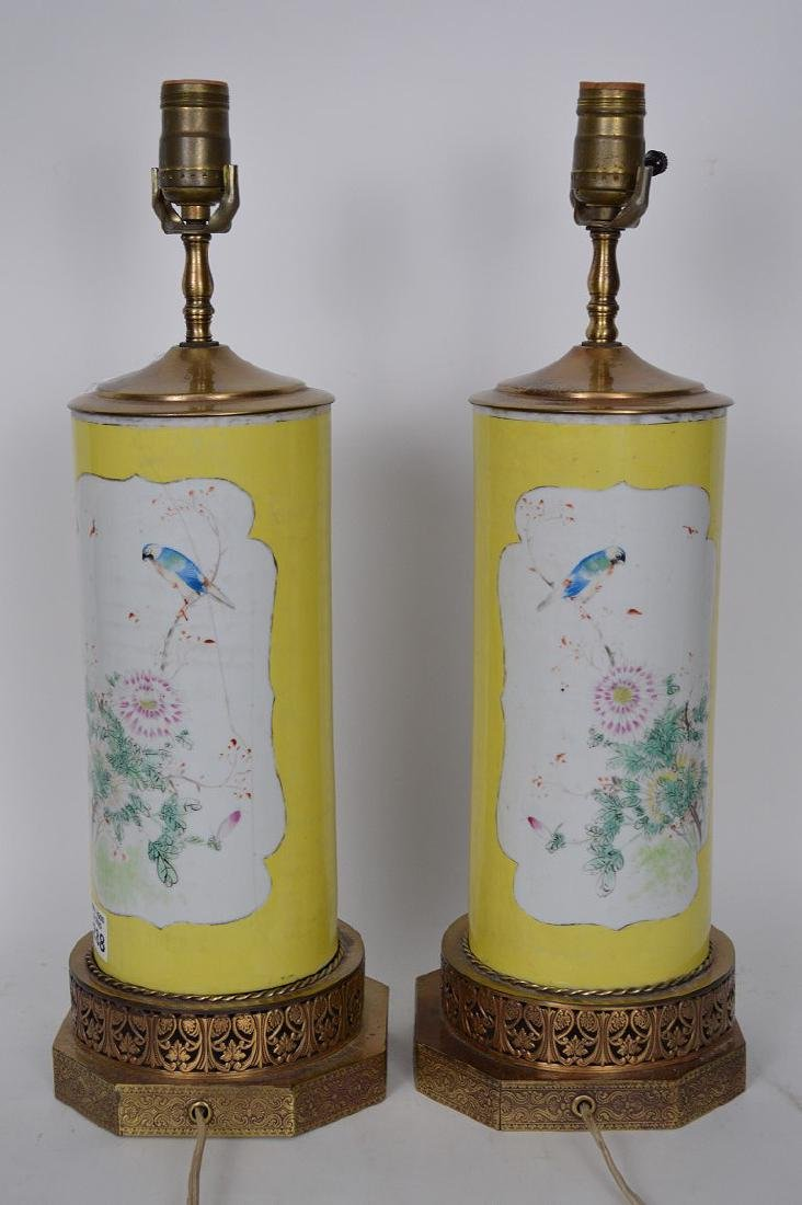 Pair Chinese lamps, bird & floral painted panels on - 4