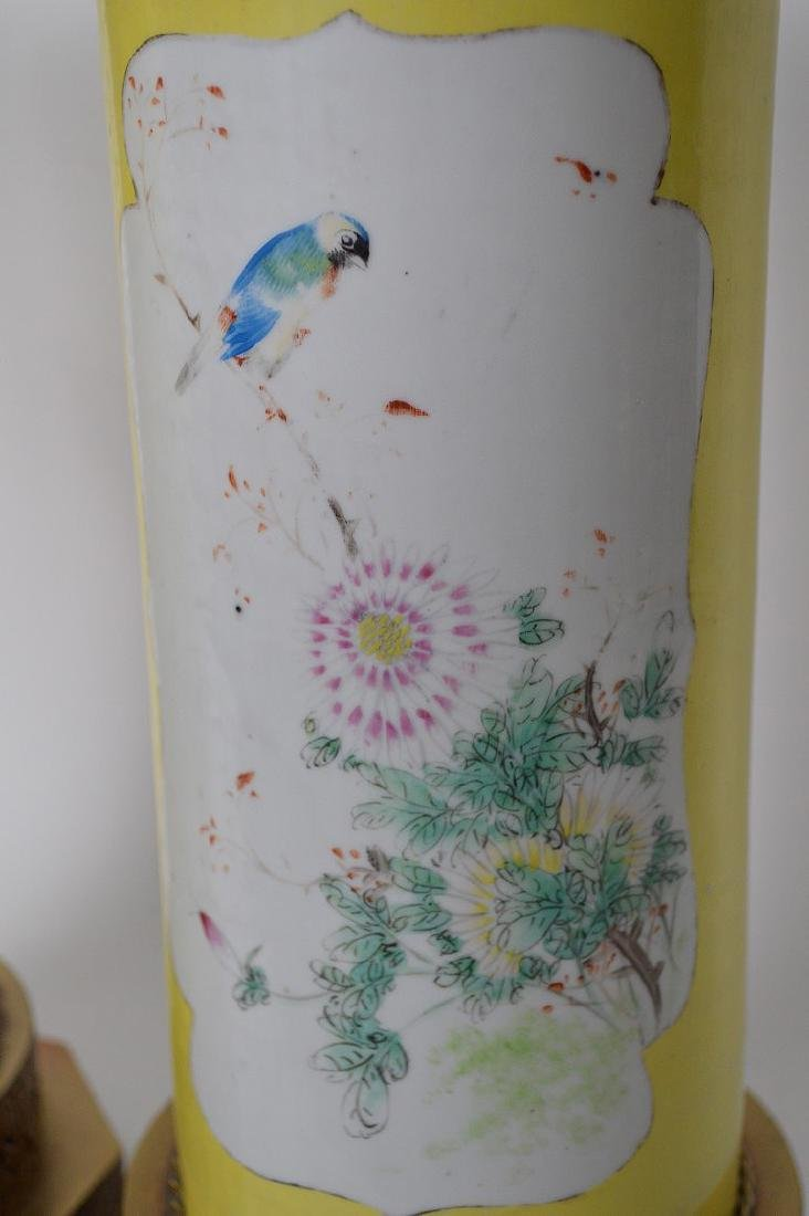 Pair Chinese lamps, bird & floral painted panels on - 7