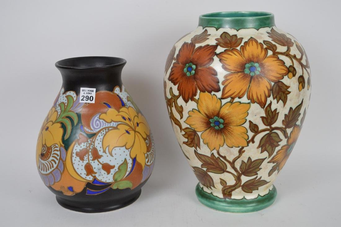 """2 Gouda pottery Holland vases, 10 1/2""""h & 14""""h"""