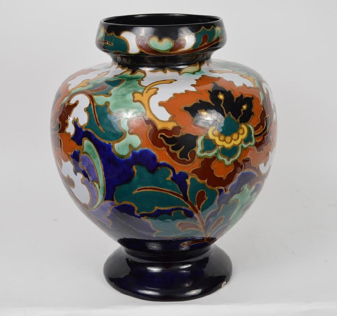 """Glazed Gouda pottery Holland, jardinière, 13""""h x 10""""w"""