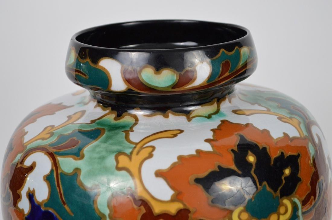 """Glazed Gouda pottery Holland, jardinière, 13""""h x 10""""w - 2"""