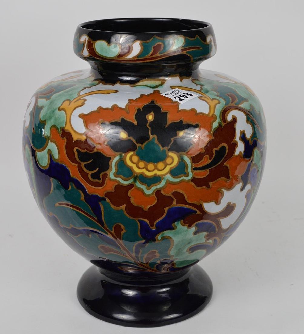"""Glazed Gouda pottery Holland, jardinière, 13""""h x 10""""w - 3"""