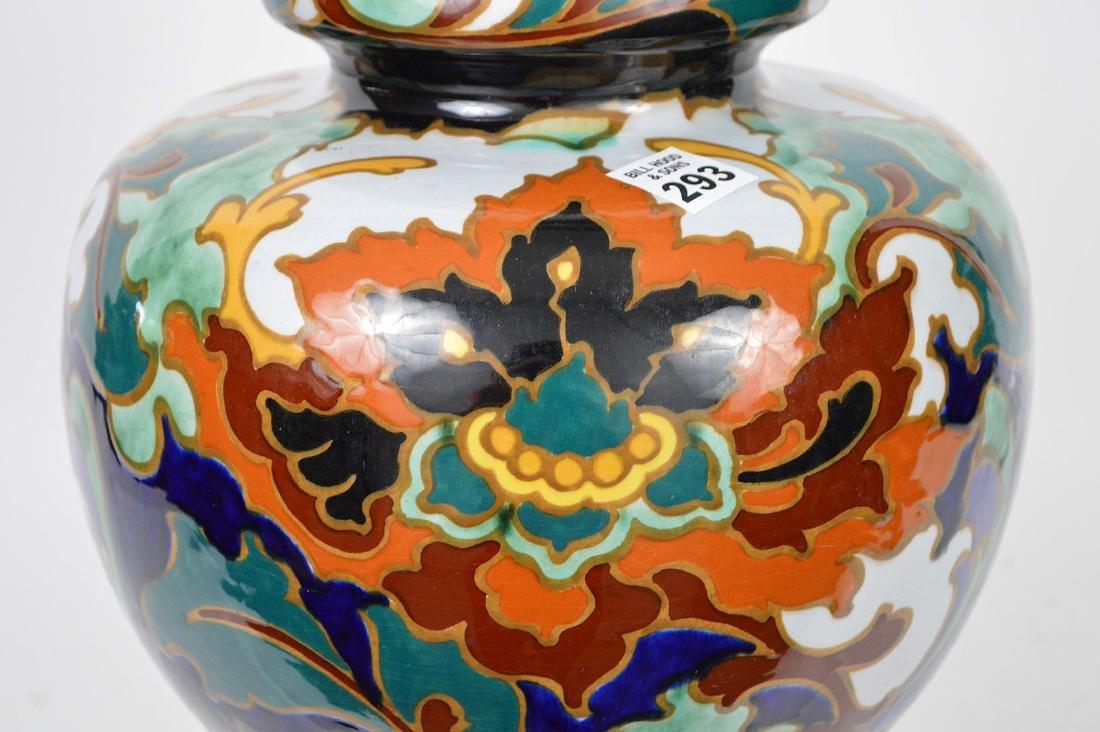 """Glazed Gouda pottery Holland, jardinière, 13""""h x 10""""w - 4"""