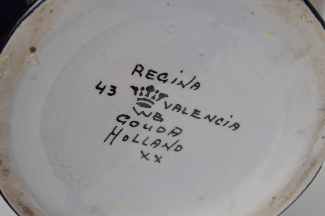 """Glazed Gouda pottery Holland, jardinière, 13""""h x 10""""w - 6"""