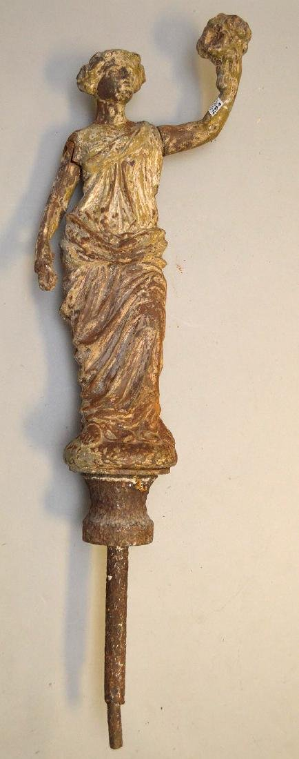 "19th c. cast iron garden classical maiden, 47""h total"