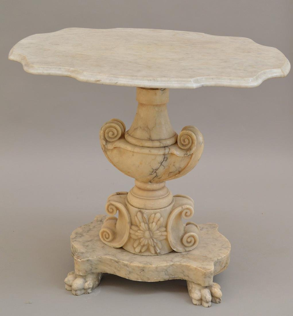 19th c. marble occasional table, urn form pedestal on 4 - 2