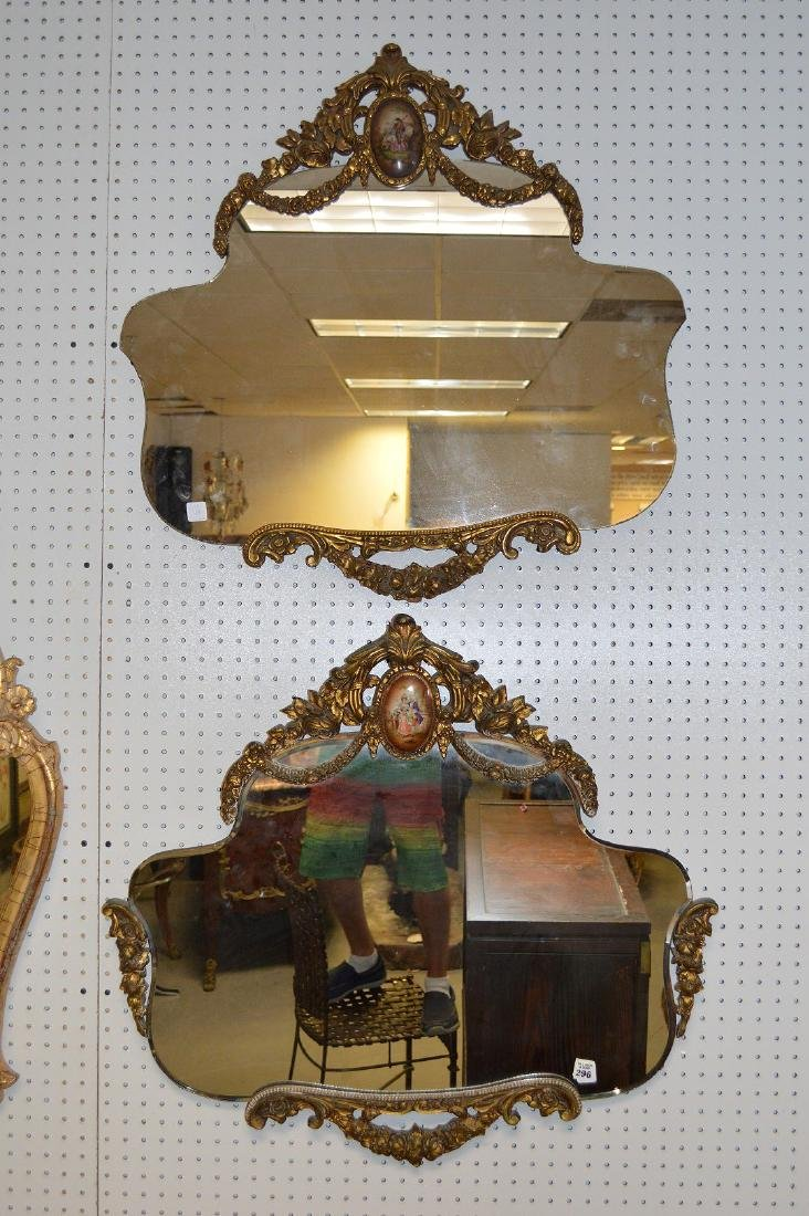 2 mirrors, swag motif with porcelain plaques at top of