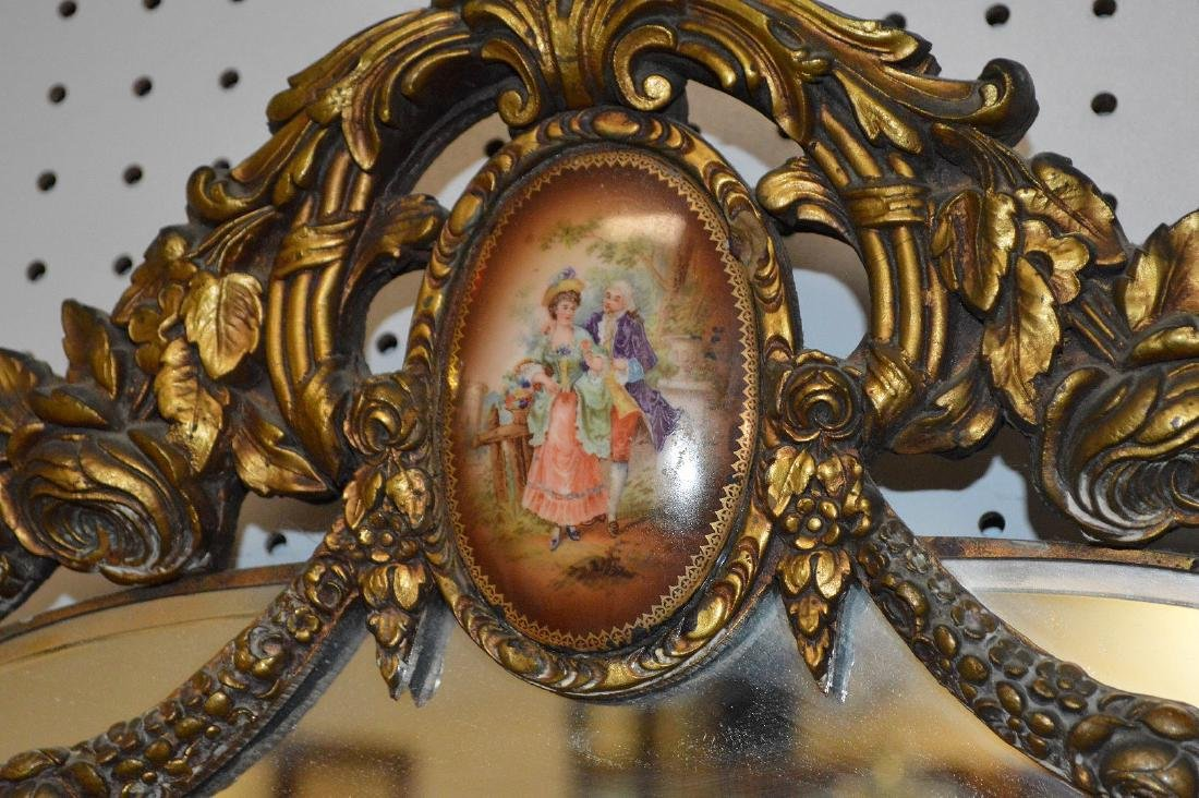 2 mirrors, swag motif with porcelain plaques at top of - 3