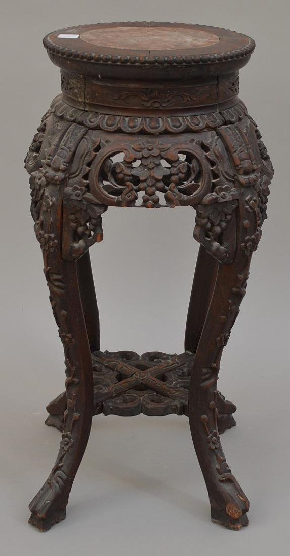 """Chinese carved stand with marble insert, 26 1/2""""h x 10"""
