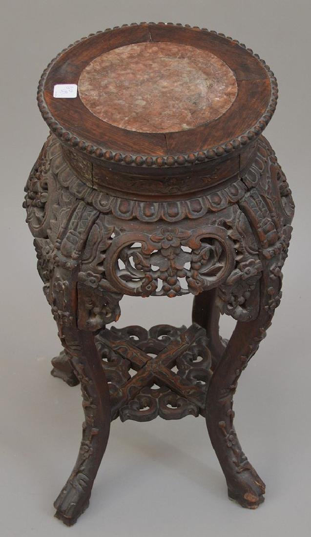 """Chinese carved stand with marble insert, 26 1/2""""h x 10 - 2"""