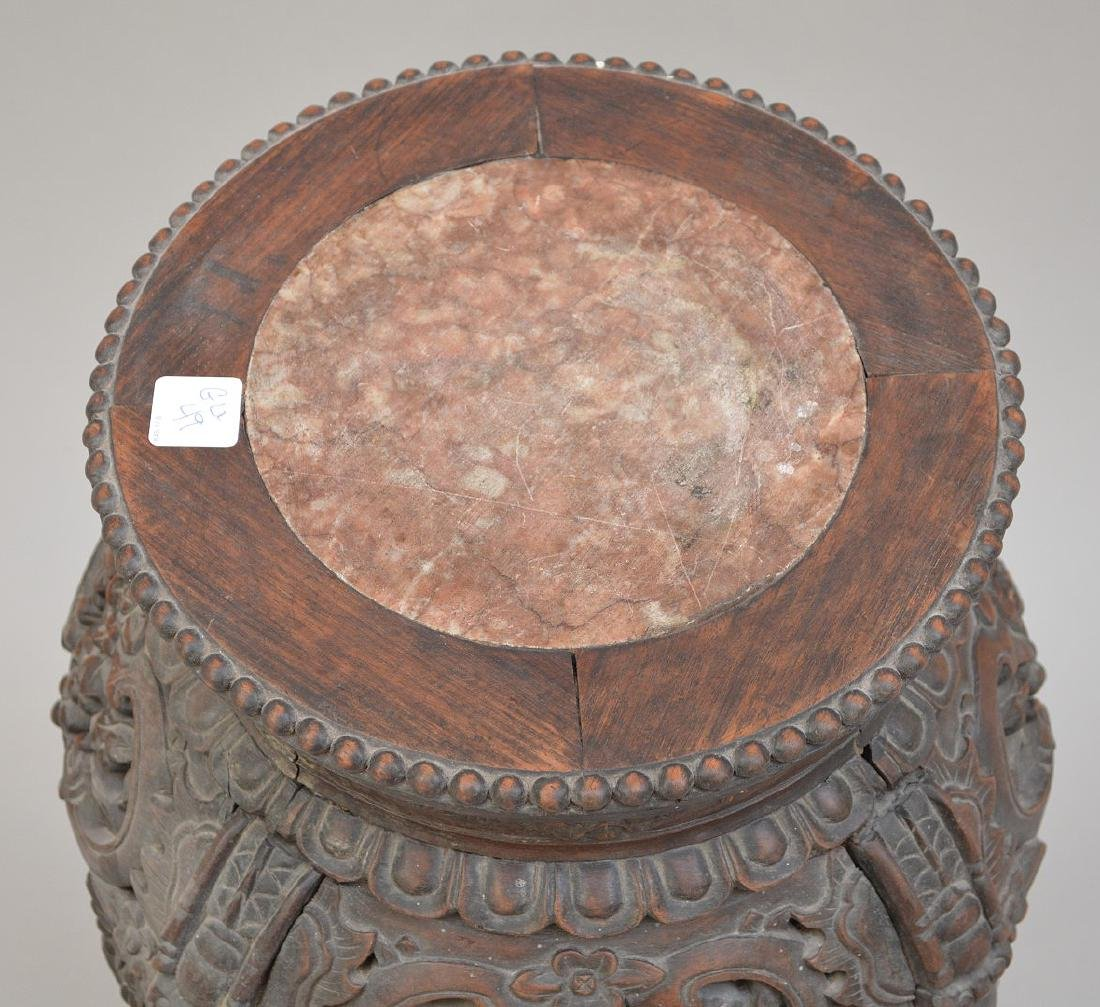 """Chinese carved stand with marble insert, 26 1/2""""h x 10 - 3"""