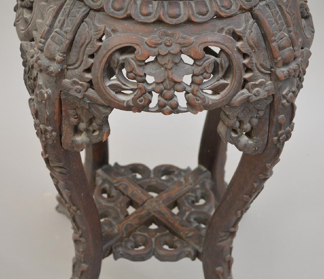 """Chinese carved stand with marble insert, 26 1/2""""h x 10 - 4"""