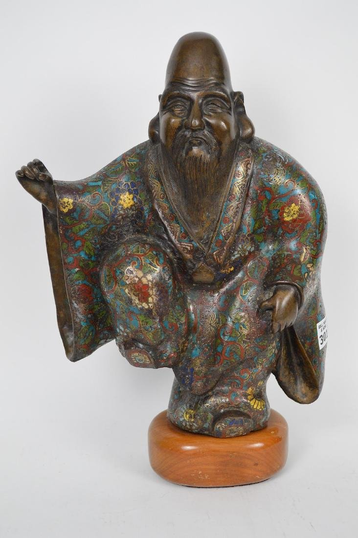 "Chinese bronze cloisonné buddha with raised leg, 15""h x"
