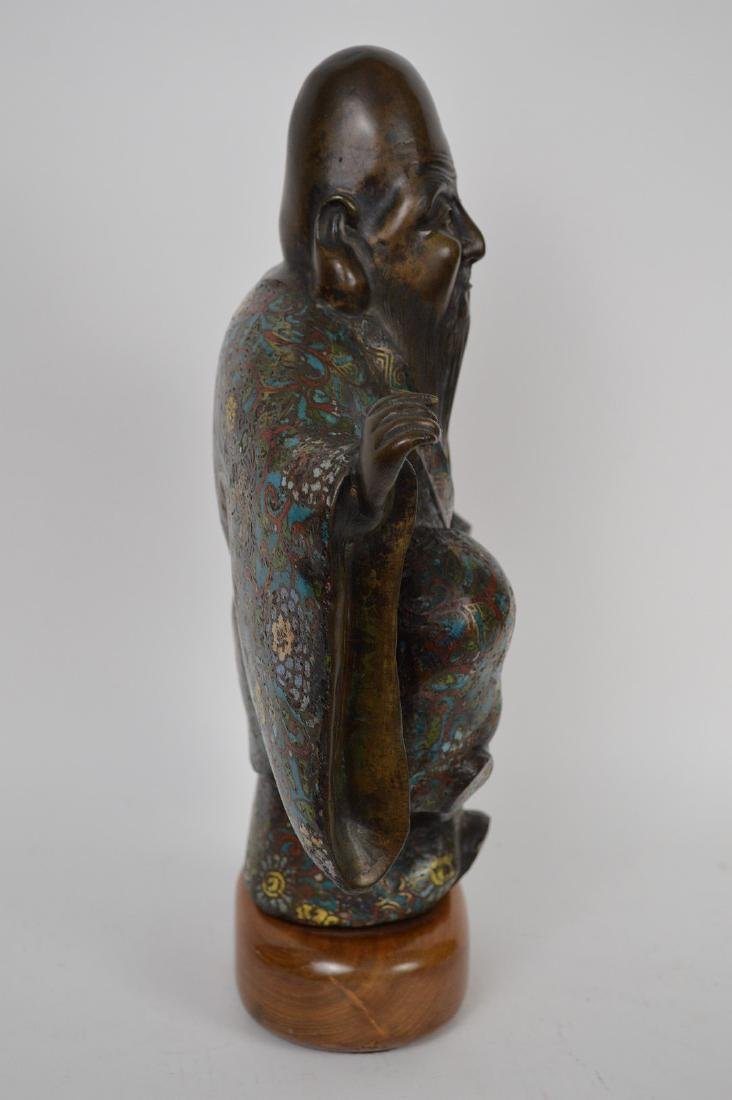 "Chinese bronze cloisonné buddha with raised leg, 15""h x - 4"