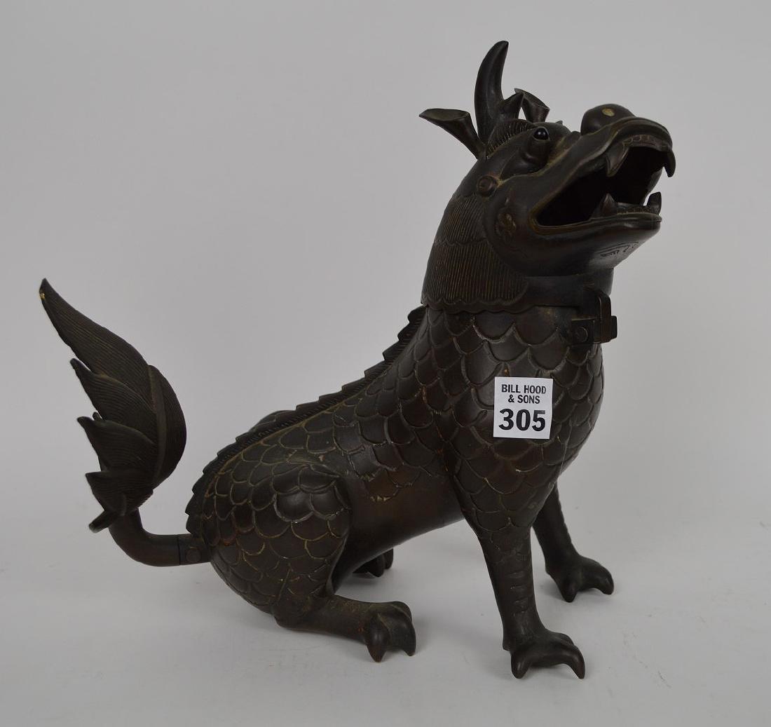 Chinese Bronze Foo Dog with glass eyes, head swings - 2