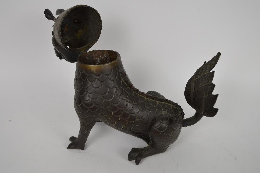 Chinese Bronze Foo Dog with glass eyes, head swings - 6