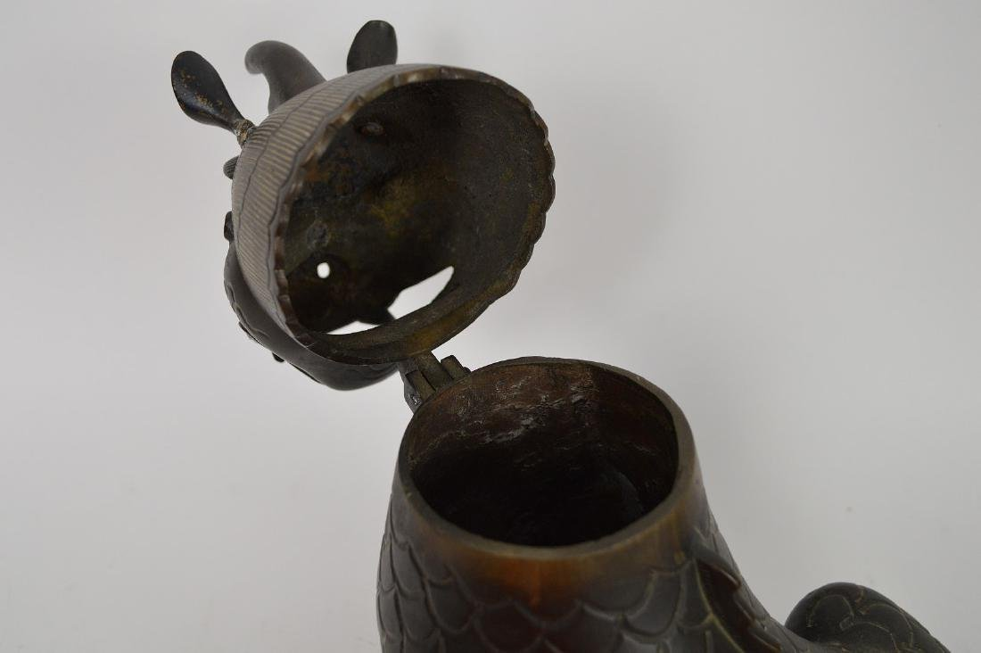 Chinese Bronze Foo Dog with glass eyes, head swings - 7