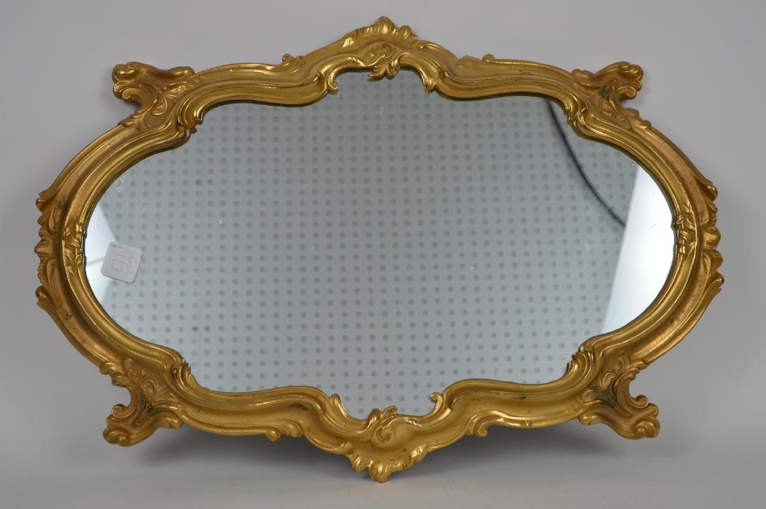 """Gilt Bronze Rococo form mirrored  plateau, 20"""" x 13"""" - 5"""