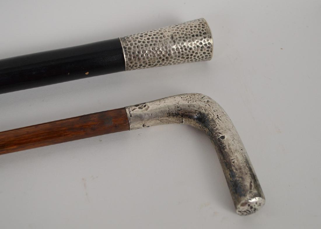 "2 walking sticks with sterling handles, 34""L & 34 1/2""L - 3"