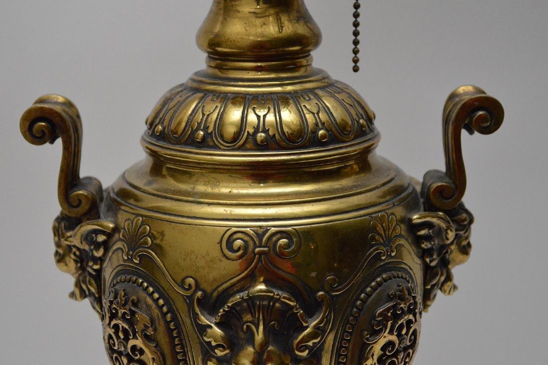 "Heavy bronze urn form lamp, 18""h - 3"