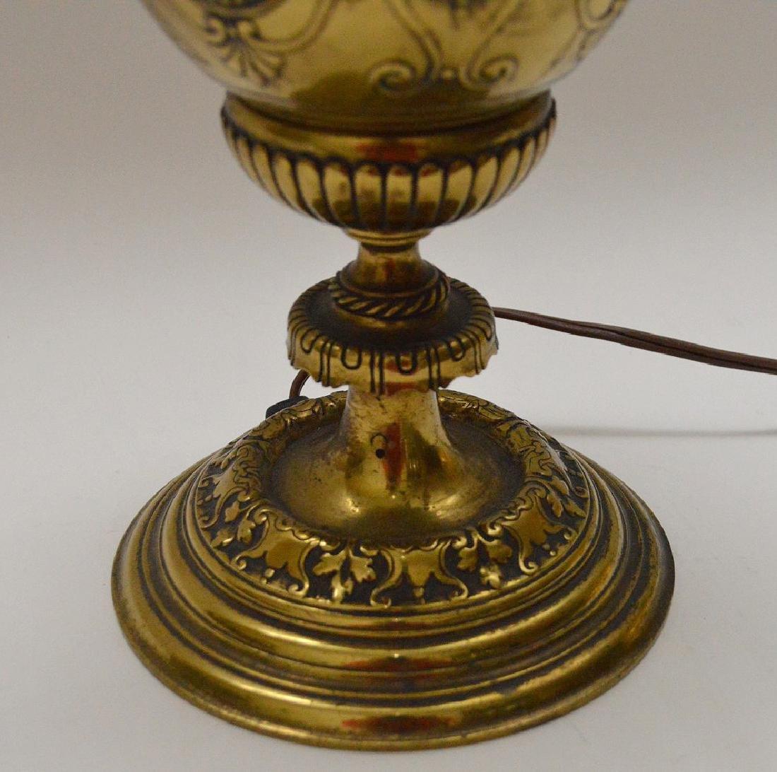 "Heavy bronze urn form lamp, 18""h - 4"
