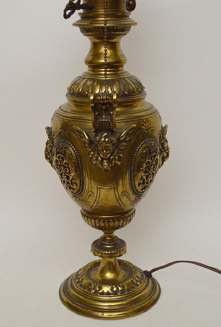 "Heavy bronze urn form lamp, 18""h - 6"