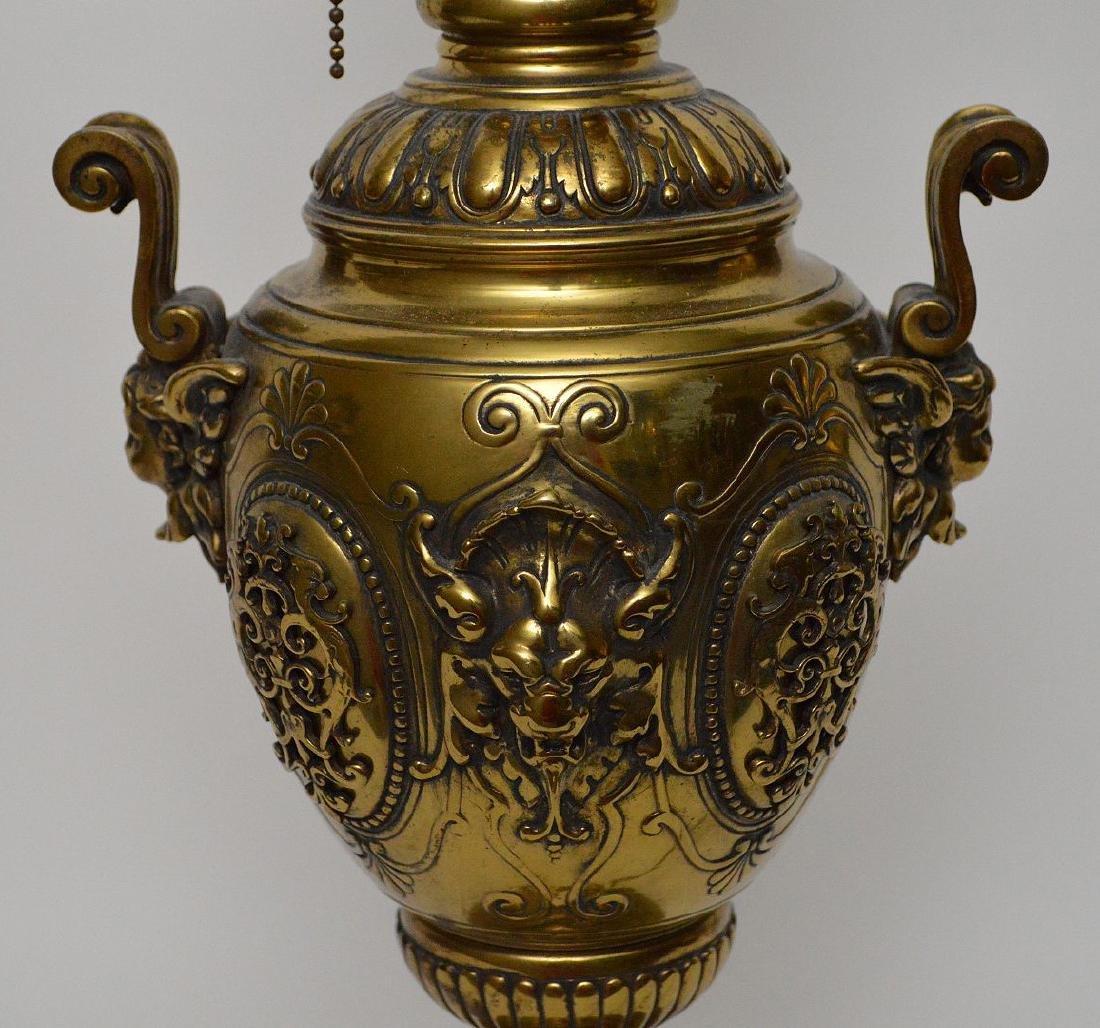 "Heavy bronze urn form lamp, 18""h - 7"
