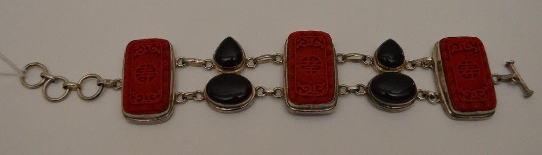 Sterling bracelet with cinnabar and onyx