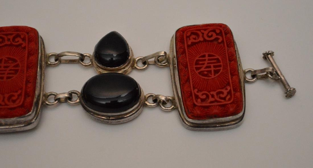 Sterling bracelet with cinnabar and onyx - 2