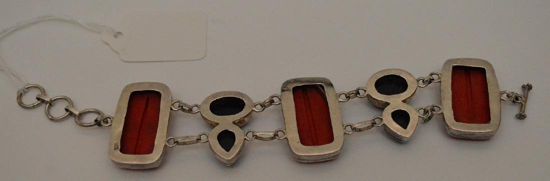 Sterling bracelet with cinnabar and onyx - 4