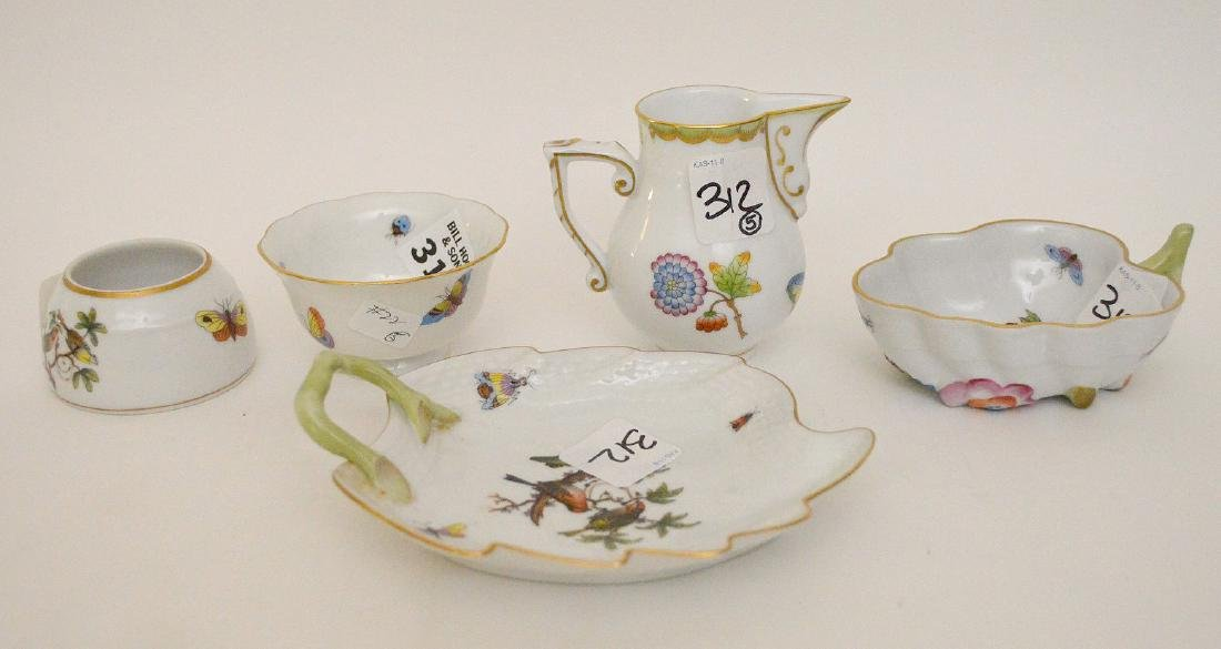 """5 Herend pieces, pitcher is 3""""h"""