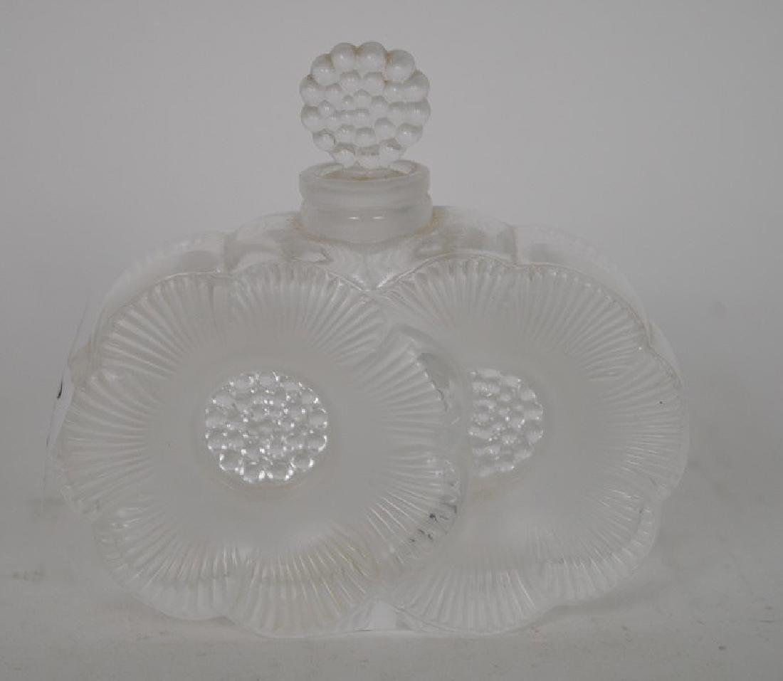 "Lalique perfume bottle, 3 1/2""h x 3 1/2""w"