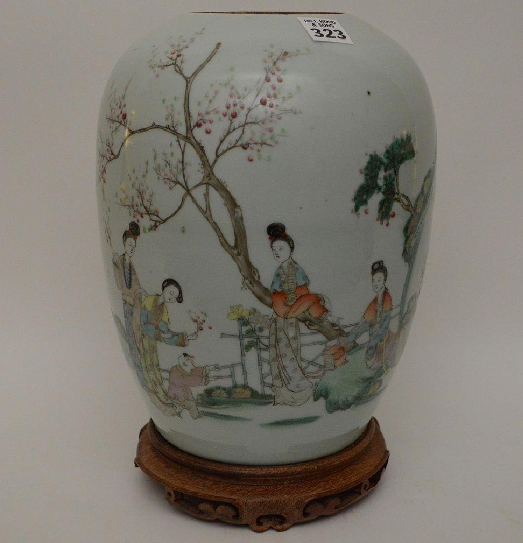 Chinese ginger jar on attached wood stand, five