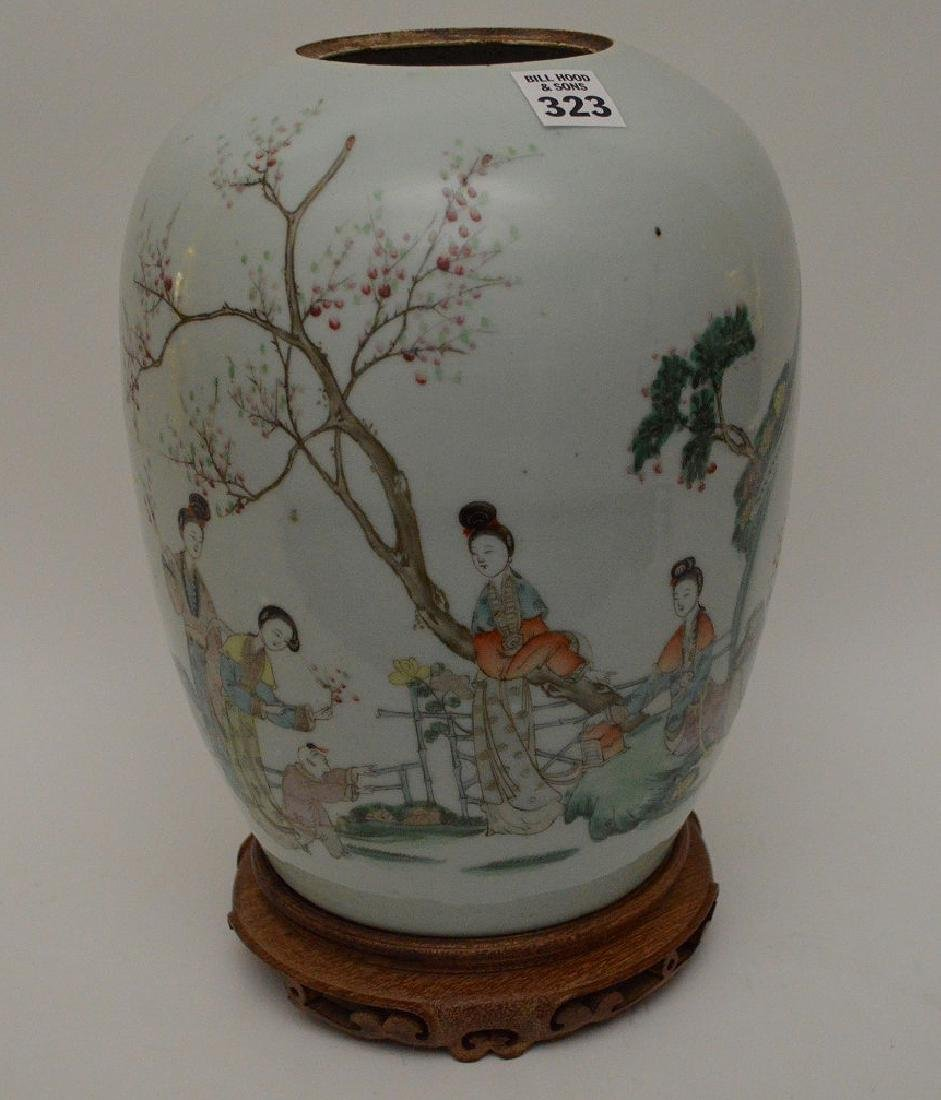 Chinese ginger jar on attached wood stand, five - 3