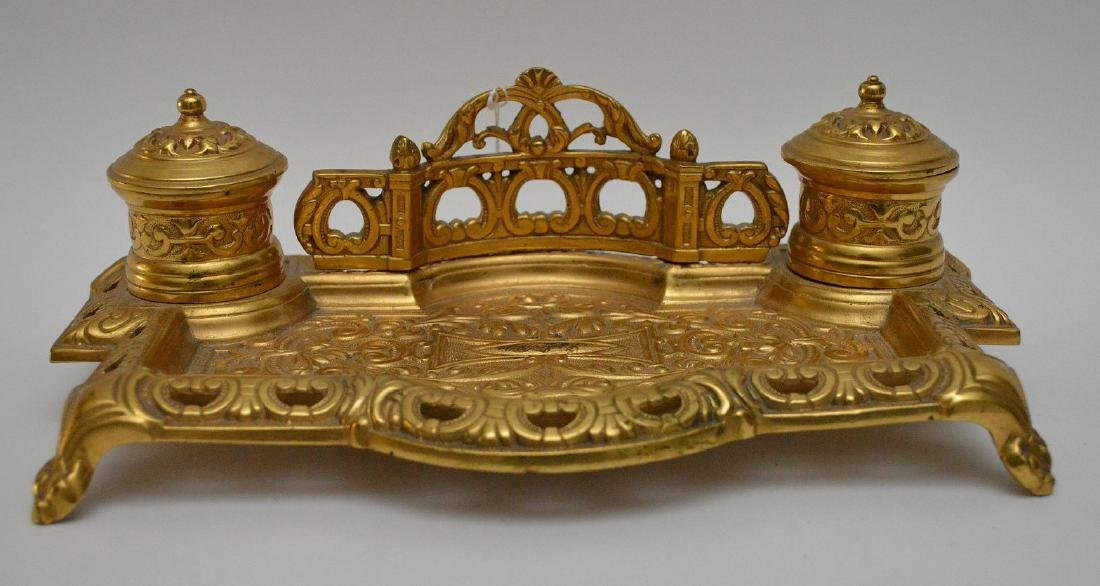 """Gilt bronze footed double inkwell, 3""""h x 10 1/2""""w"""