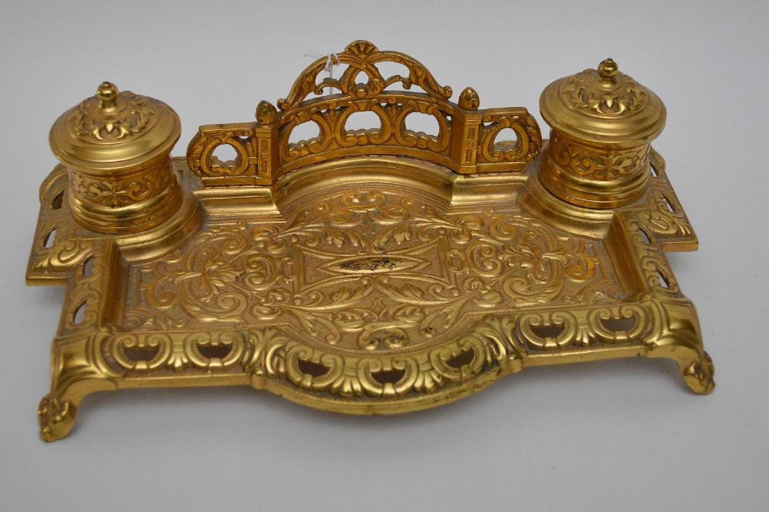 """Gilt bronze footed double inkwell, 3""""h x 10 1/2""""w - 2"""