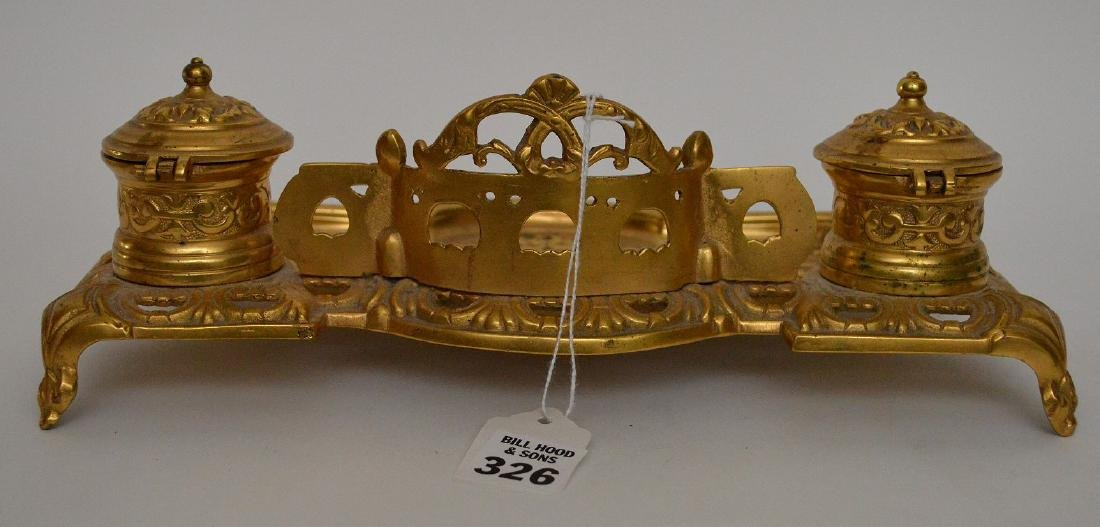"""Gilt bronze footed double inkwell, 3""""h x 10 1/2""""w - 3"""