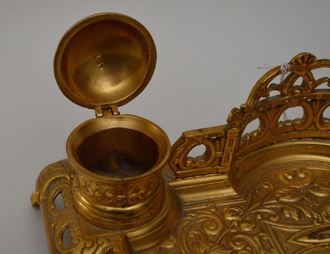 """Gilt bronze footed double inkwell, 3""""h x 10 1/2""""w - 4"""